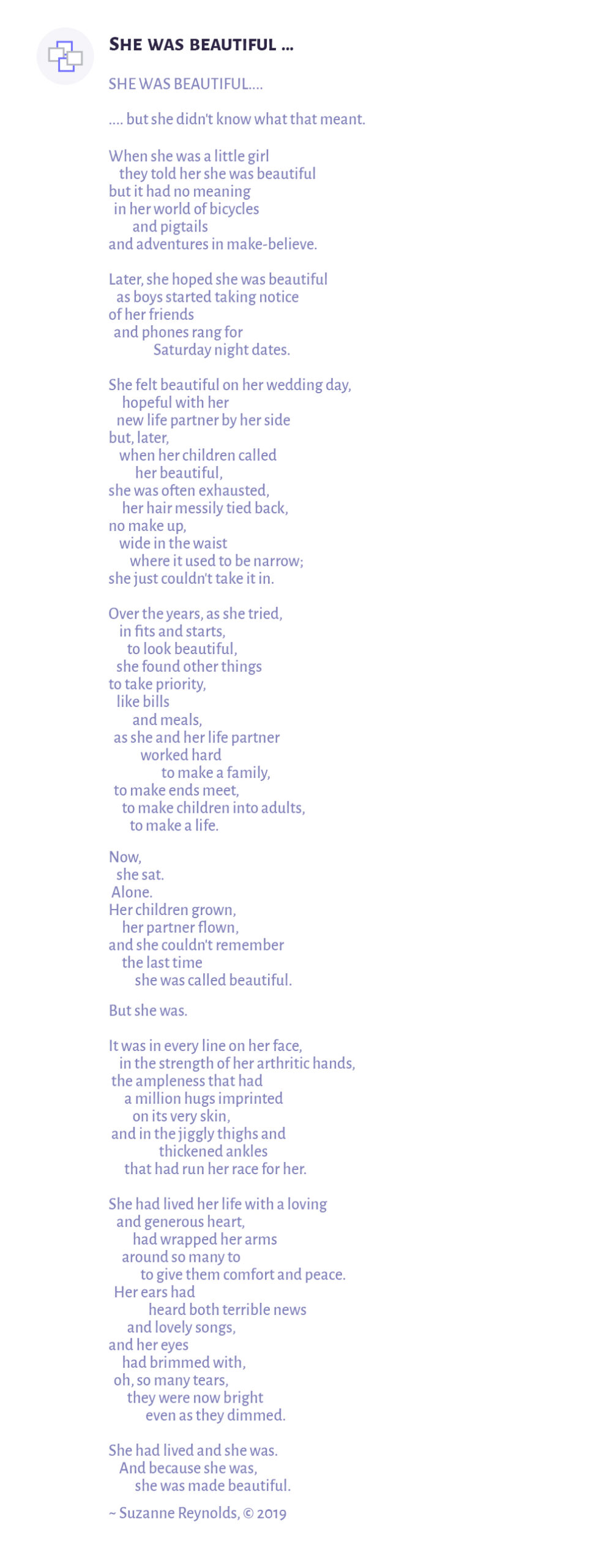 She was beautiful a poem by Suzanne Reynolds